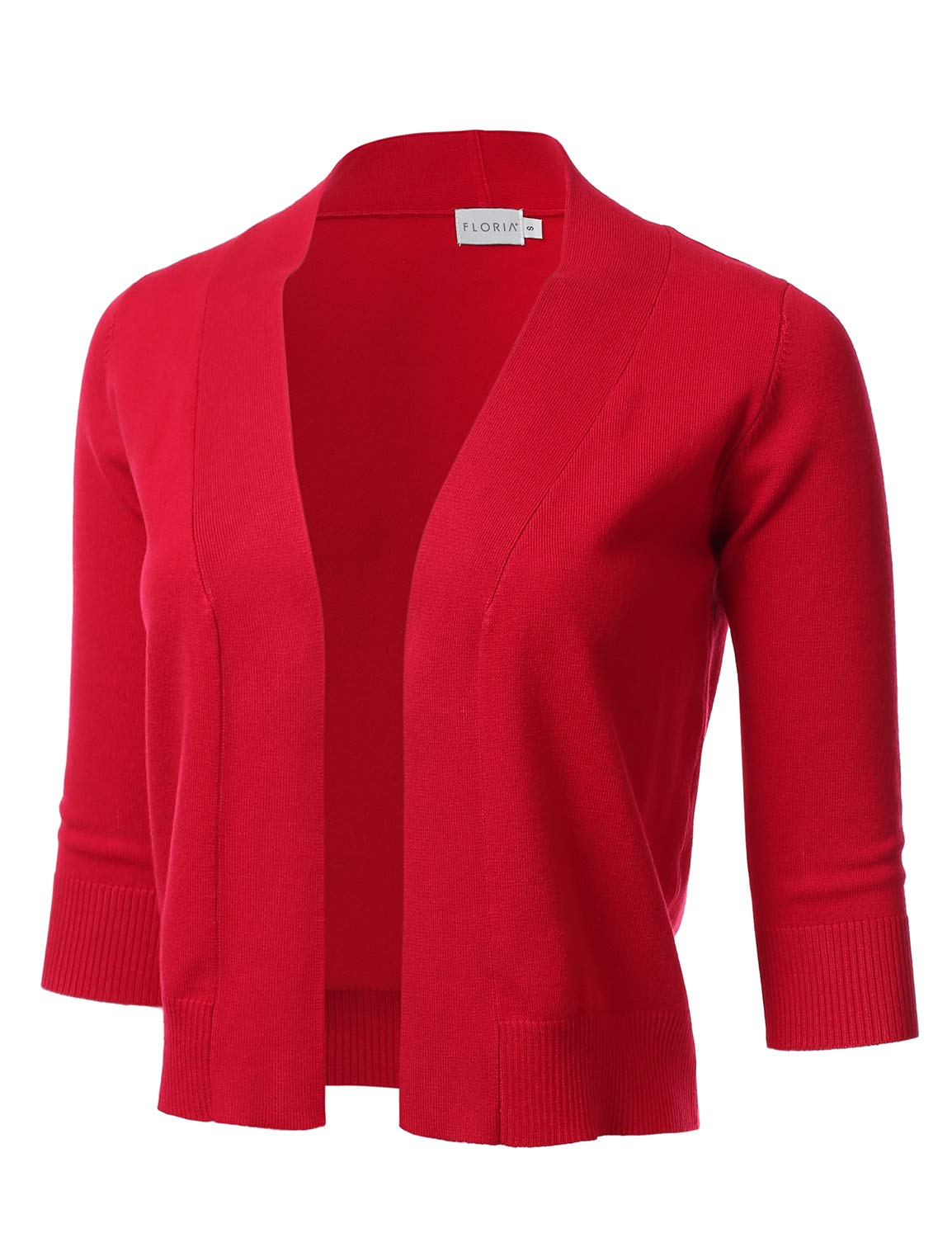 FLORIA Womens Classic 3/4 Sleeve Open Front Cropped Cardigan RED L