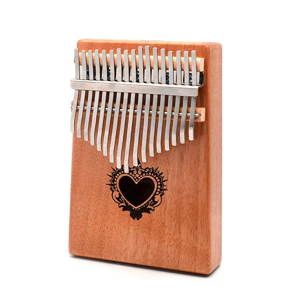 Unique Heart Printing 17 Keys African Kalimba Wood Thumb Piano Standard C Tune Finger Piano Metal Tines With Tuning Hammer Pickup Tune Stickers Carry Bag Kids Musical Instrument Gifts for Music Lover