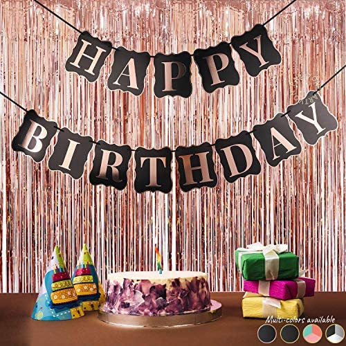 Rose Gold Happy Birthday Banner with Shimmering Gold Letters, Happy Birthday Bunting Banner for Party Decorations, Funny Happy Birthday Sign, Rose Gold Happy Birthday Banner for Women Birthday