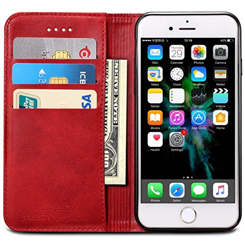 iPhone XR Case, SINIANL Premium Leather Wallet Case Business Credit Card Holder Folio Flip Cover for iPhone XR 6.1 inch 2018 - Red