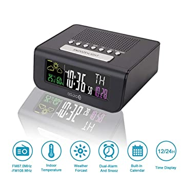 NDSNQ Radio Reloj Despertador FM Led Reloj Despertador Digital con estación meteorológica Soporte de Pantalla Inteligente