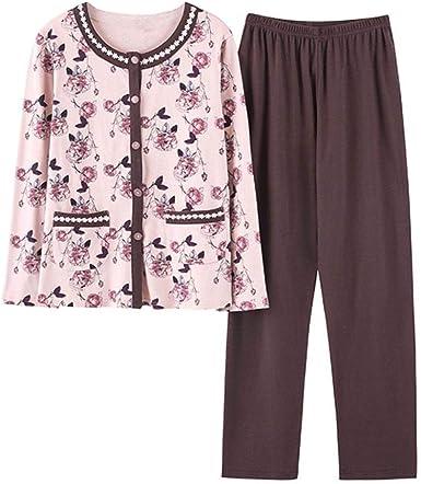 Pijamas Clásicos para Mujer Algodón Otoño Manga Larga Ropa Pijama De Dos Piezas Conjunto L (Algodón Puro) F: Amazon.es: Ropa y accesorios