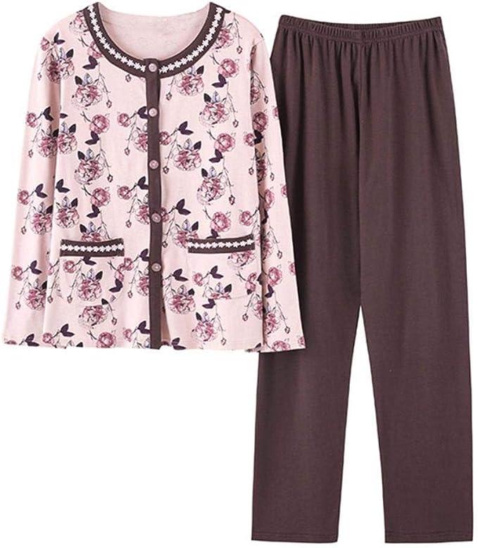 Pijamas Clásicos para Mujer Manga Larga Algodón Otoño Pijama De ...