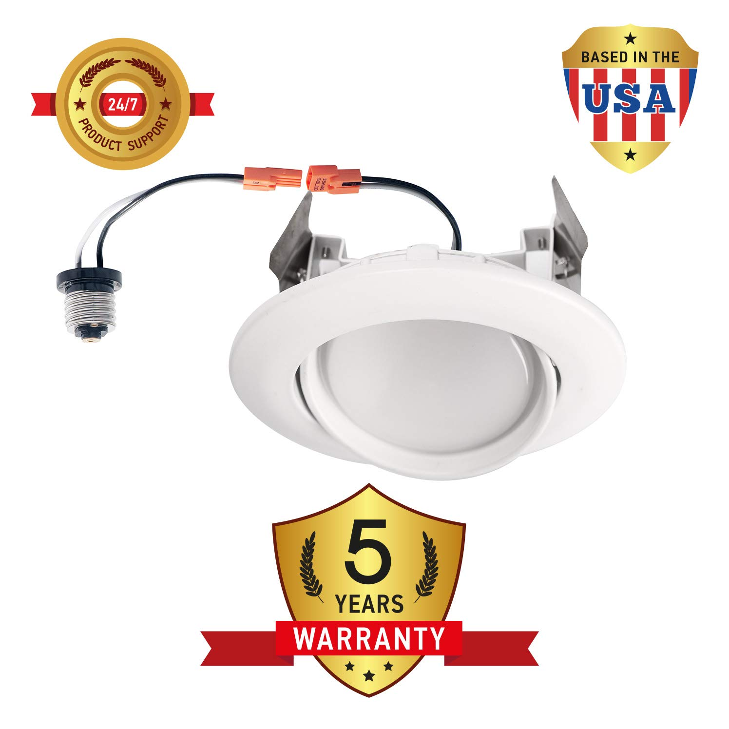 OSTWIN (12 Pack) 4 inch Dimmable LED Downlight Recessed Ceiling Light Fixture, Adjustable Gimbal Trim Kit Can Light, 10 W (75 Watt Replacement), 900 Lm, 5000K Daylight, ETL & Energy Star by OSTWIN (Image #8)