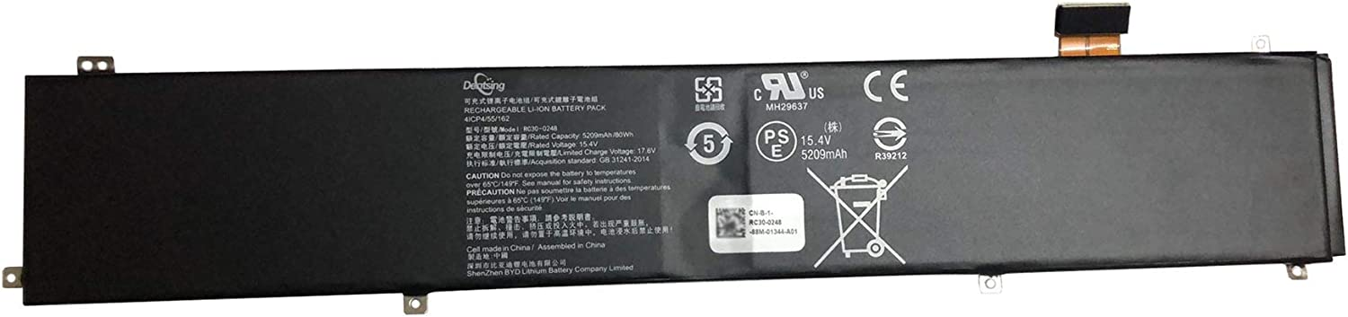 Dentsing RC30-0248 (15.4V 80Wh/5290mAh) Laptop Battery Compatible with Razer Blade 15 2018 i7-8750H RZ09-02386E91 RZ09-02385W71-R3W1 RZ09-0288 RZ09-0301 RZ09-03017 Series Notebook RZ09-02386