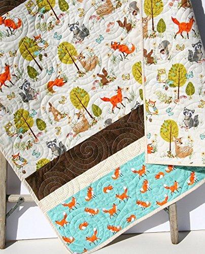 Forest Baby Quilt, Boy or Girl Gender Neutral, Modern Trendy, Baby Bedding, Nursery Blanket, Toddler Forest Fellows Stripe, Woodland Animals