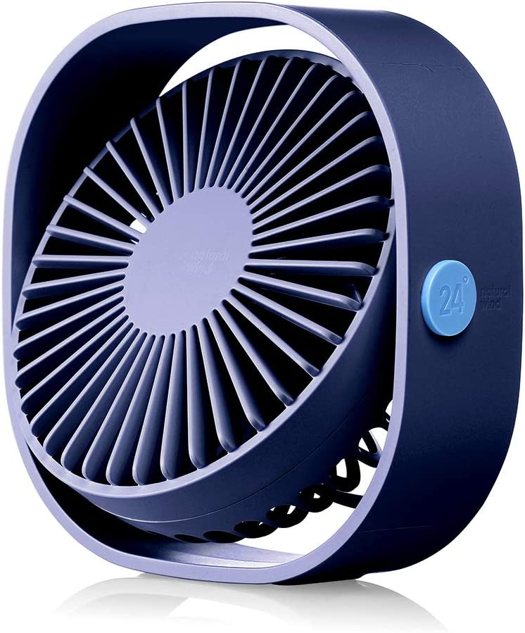 HOPEME 4'' Desk Personal Fan with 3.8ft USB Cable, 3 Speeds and 360° Rotatable Vertically Blue Color Mini Small Fan, Quiet Operation and Strong Wind,Suitable for Office Home