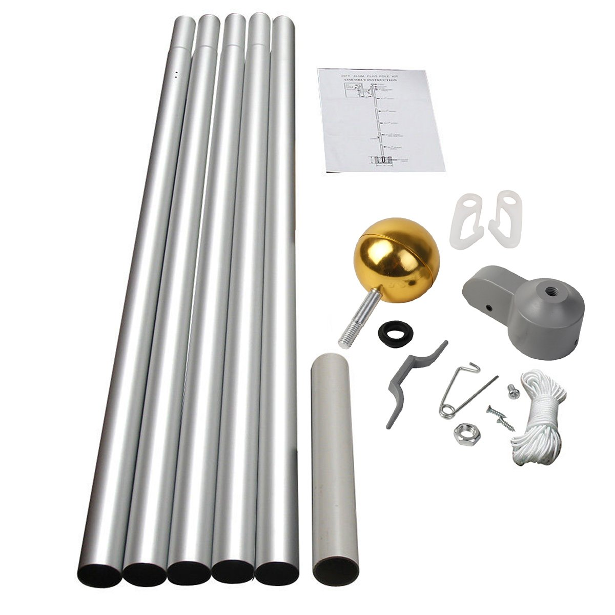 Costway 20FT Flag Pole Telescopic Aluminium 5 Joints Flagpole W/ 2 UK Flags & Gold Ball