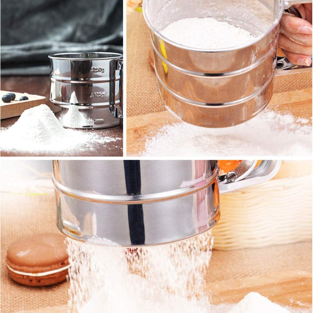Lorsoul Flour Sieve Cup Stainless Steel Shaker Sieve Cup Mesh Crank Flour Icing Powdered Sugar Sifter
