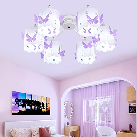 Kids Chandeliers for Girls Room LED Purple Crystals ...