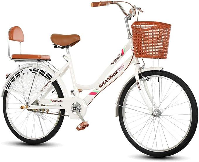 Bicicleta for mujer, 22 24 pulgadas Estilo holandés Patrimonio clásico Damas tradicionales Bicicletas blancas, Bicicletas de carretera urbana al aire libre Cuadro de ...