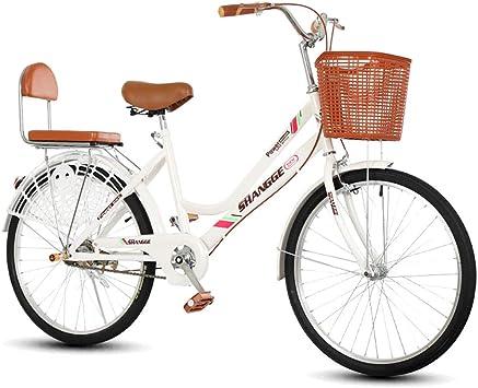 Bicicleta for mujer, 22 24 pulgadas Estilo holandés Patrimonio clásico Damas tradicionales Bicicletas blancas, Bicicletas de carretera urbana al aire libre Cuadro de bicicleta de acero de alto carbono: Amazon.es: Deportes y