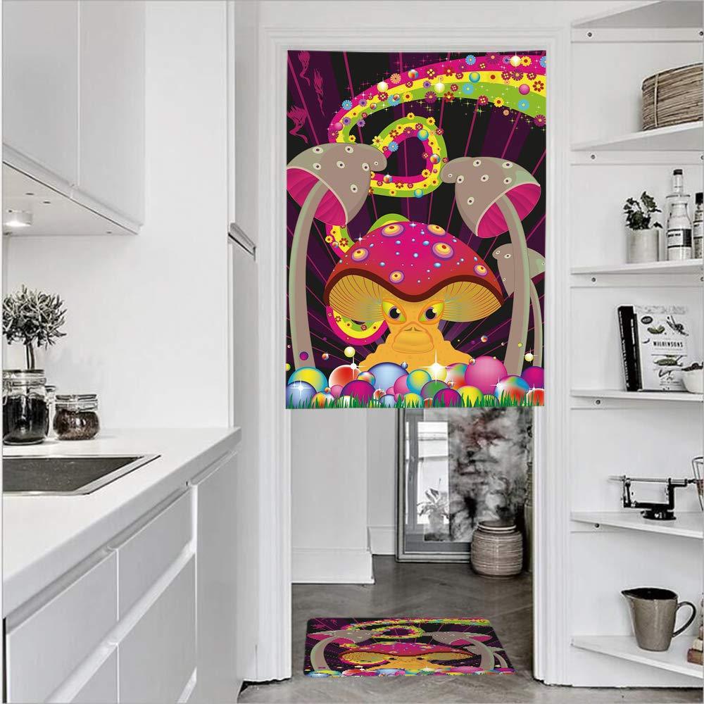 "SCOCICI 3D Printed Linen Textured French 1 Panel Door Curtains 1pcs Doormat Kitchen Mat Rug,Composition Fantastic Mushroom Floral RainbowSingle Panel Door Curtain 27.6"" w 39.4"" h + 1 PCS Doormat 15."