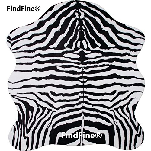 FindFine® Zebra Print Rug 5.2x4.6 Feet faux Zebra hide rug
