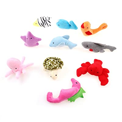 SuxiDi 10 PCS Ocean Animal Finger Puppets Soft Baby Educational Hand Toy Sea Animal Finger Puppets Plush Toys for Kids Story Time: Toys & Games
