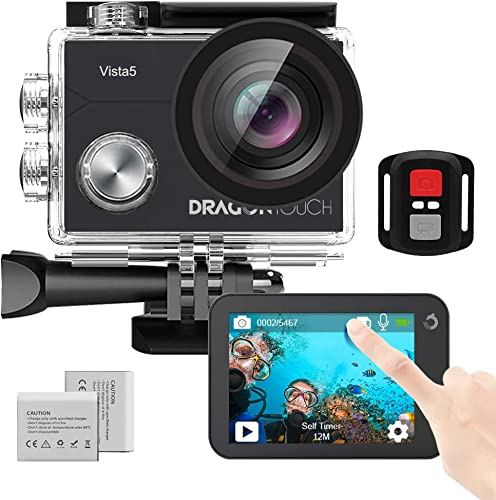 Dragon Touch Native 4K30fps Action Camera with Touch Screen EIS Remote Control Vista 5 WiFi 100 feet Waterproof Sports Camera 2 Batteries and Mounting Accessories Kit