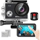 Dragon Touch アクションカメラ 4K高画質 手ぶれ補正 外部マイク対応 2inchタッチスクリーン リモコン付き WIFI搭載 100ft防水 水中カメラ HDMI出力 スポーツカメラ 1350mAh大容量バッテリー2個 豊富なアクセサリー ウェアラブルカメラ Vista5