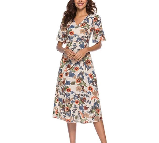 1833336cf0 FuweiEncore Vestido Casual Dulce de Mujer Vestido Midi Floral Muy Delgado   Amazon.es  Ropa y accesorios