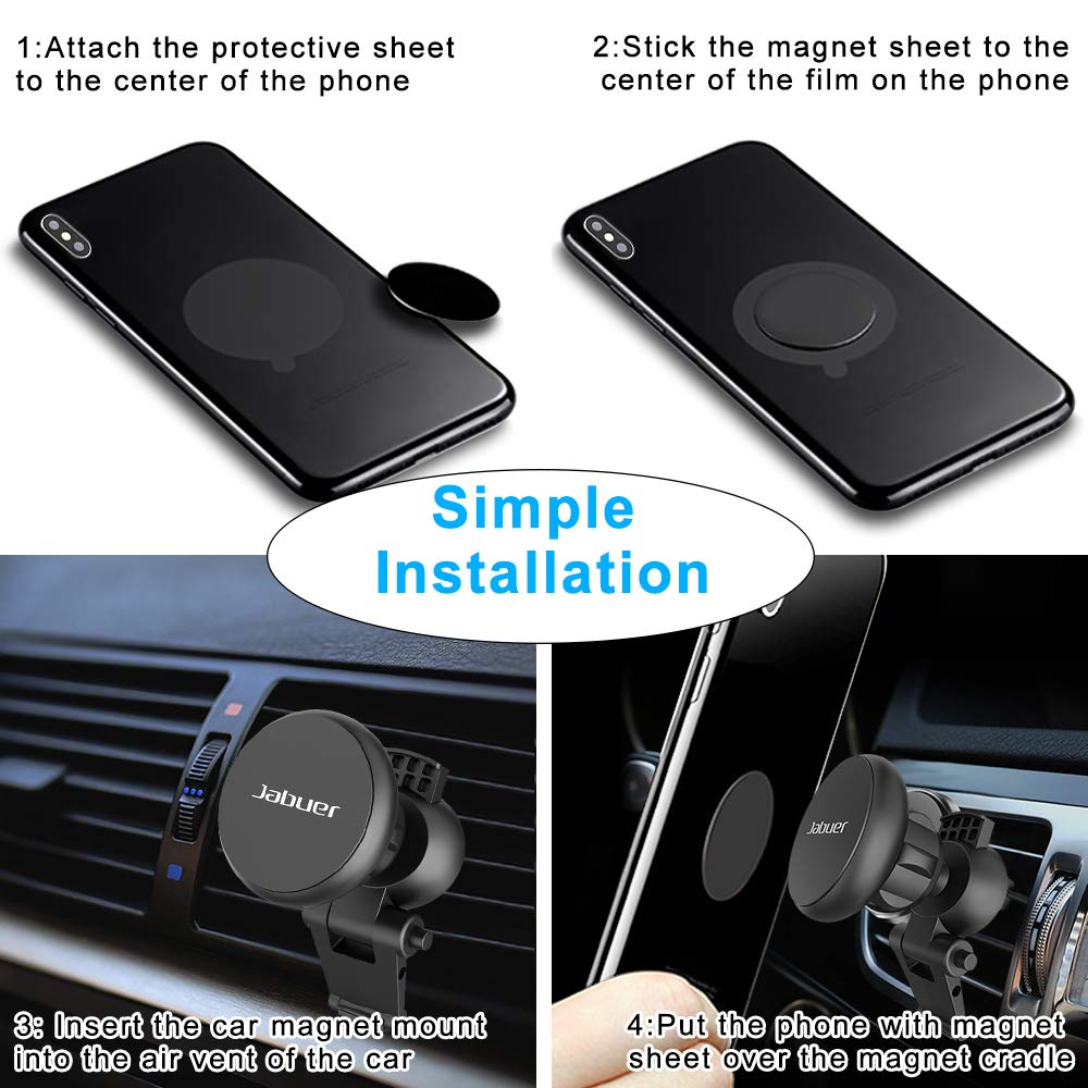 Car Phone Mount, Jabuer Universal Air Vent Magnetic Car Mount Phone Holder for iPhone Xs Max XR XS X 8 7 Plus 6S 6 SE, Galaxy S9 S8 S7 Edge, Note 9 8 5, LG G6 and Mini Tablet