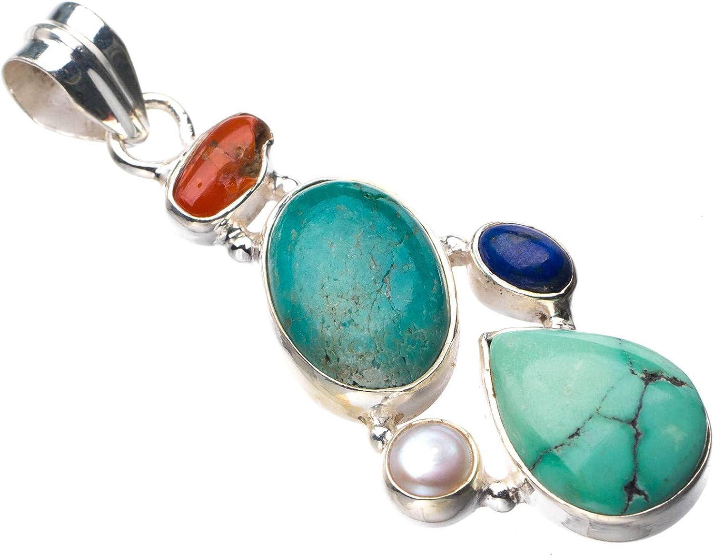 StarGems E0140 - Colgante de plata de ley 925 con turquesa natural, coral rojo, perla de río y lapislázuli hecho a mano