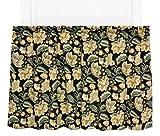 Cheap Ellis Curtain Valerie Jacobean Floral Print Tailored Tier Pair Curtains, 68 by 36-Inch, Black