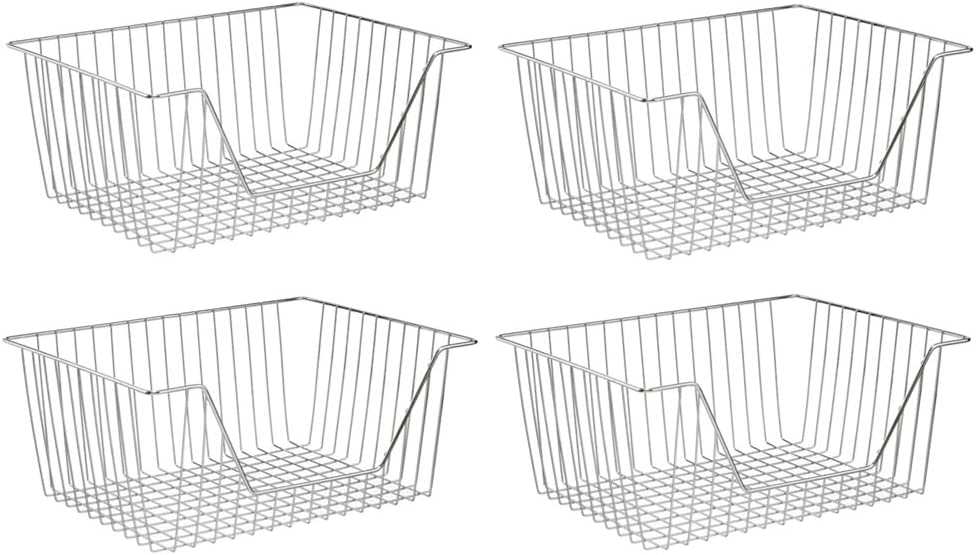 SANNO Metal Wire Open Front Organizer Basket for Kitchen Pantry, Cabinet, Shelf - Holds Canned Goods, Baking Supplies, Boxed Food Mixes, Fruits, Vegetables, Snacks - 4 Pack Chrome