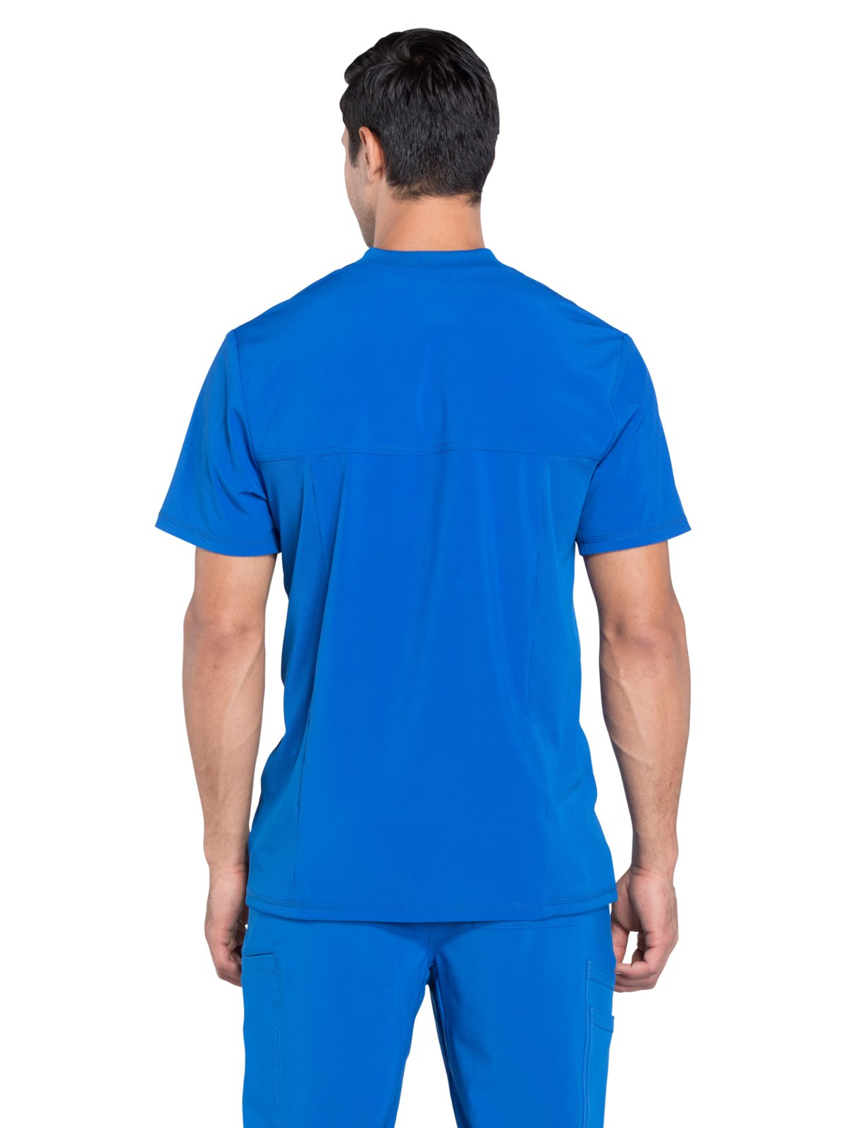 Cherokee Infinity Men's V-Neck Knit Panel Solid Scrub Top X-Large Royal by Cherokee (Image #2)