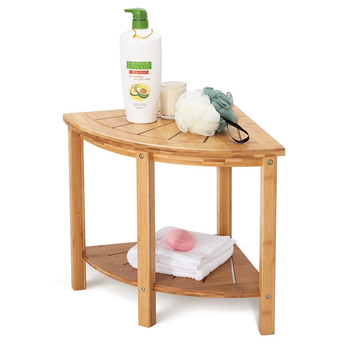 OasisSpace Corner Shower Stool, Bamboo Shower Bench with Storage Shelf, Wooden Spa Bath Organizer Seat, Perfect for Indoor or Outdoor by OasisSpace