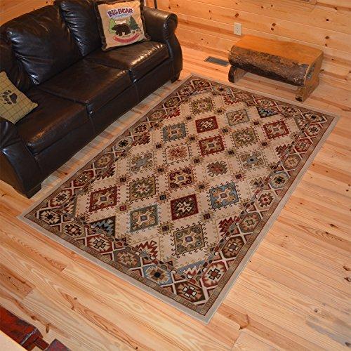 Rustic Lodge Desert Sand Ivory 5x8 Area Rug, 5'3