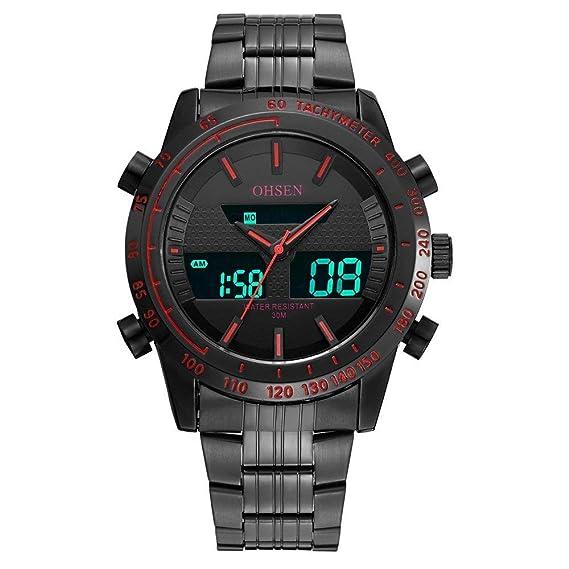 OHSEN Reloj AD1701 Hombres y Mujeres al por Mayor de Moda al Aire Libre Impermeable Ocio Reloj de Acero cinturón de Doble Zona horaria Reloj: Amazon.es: ...