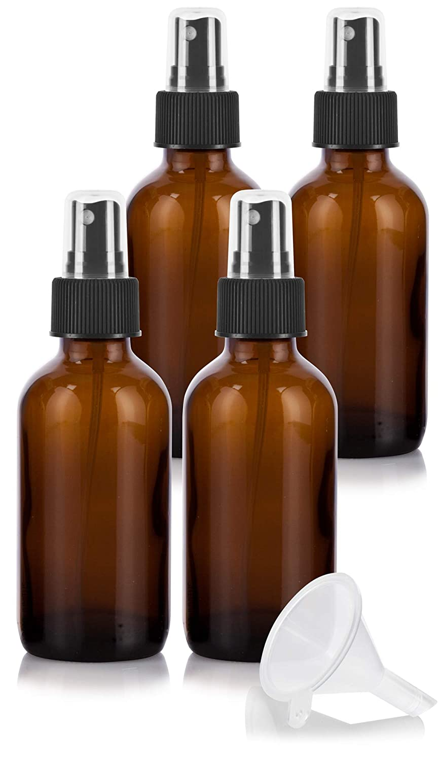 4 oz Amber Glass Boston Round Fine Mist Spray Bottle 4 Pack Funnel for Essential Oils, Aromatherapy, Food Grade, bpa Free