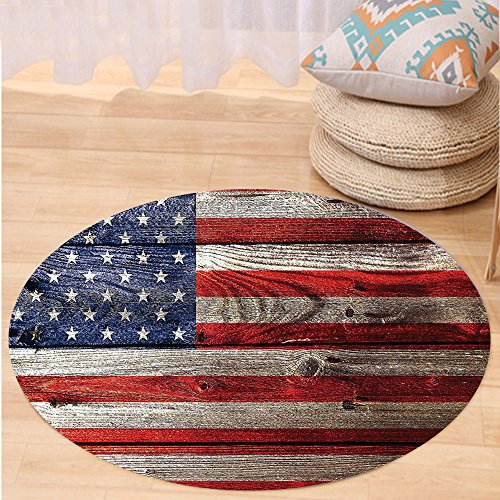 Niasjnfu Chen Custom carpetRustic Decor American Usa Flag Fourth Of July Independence Day Weathered Retro Wood Looking Country Emblem Bedroom Living Room Dorm Decor by Niasjnfu Chen (Image #6)