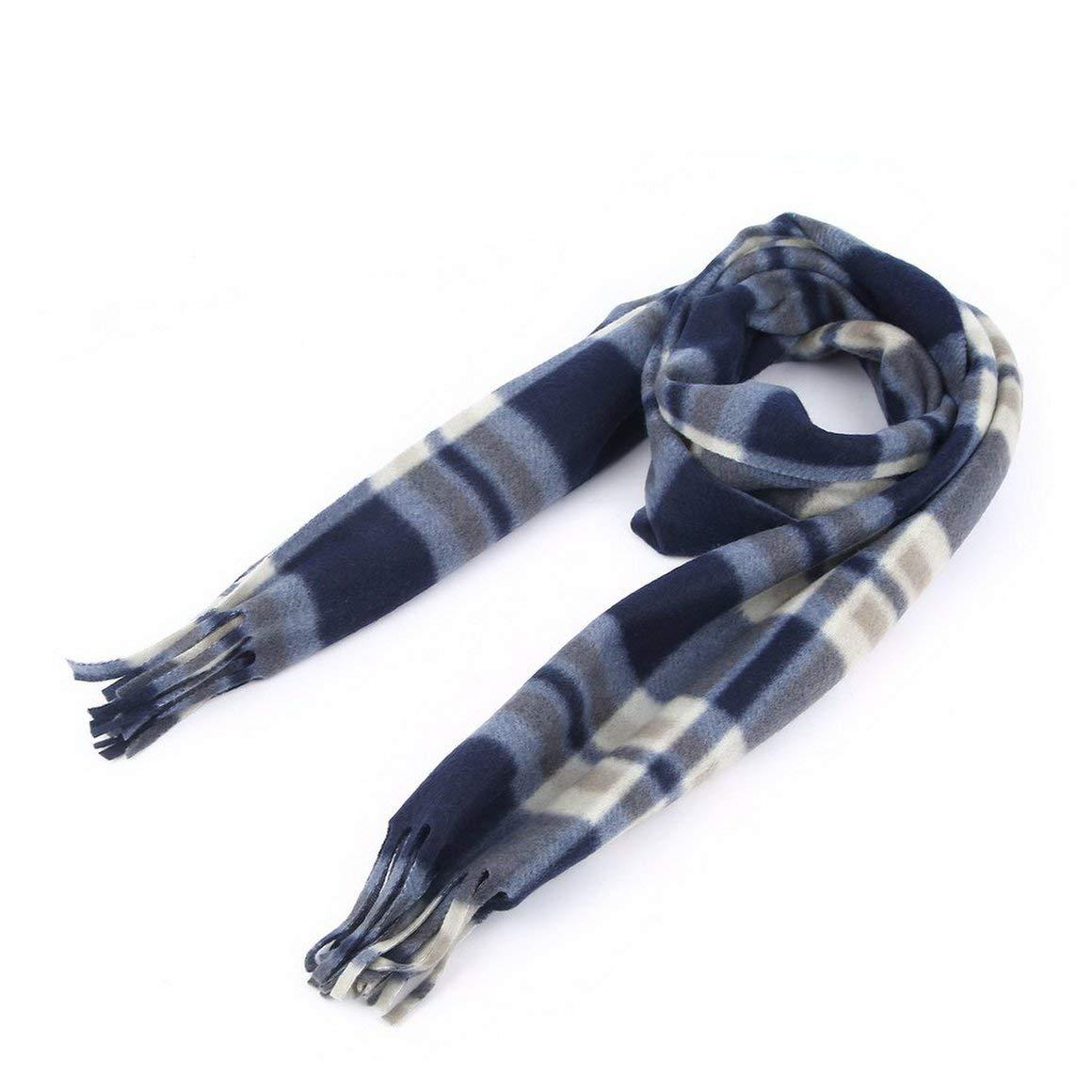 Funnyrunstore Moda Inverno Autunno Sciarpa Scozzese su Entrambi i Lati Sciarpa Calda di Velluto Silenziatore Universale per Bambini Fazzoletto da Collo Blu