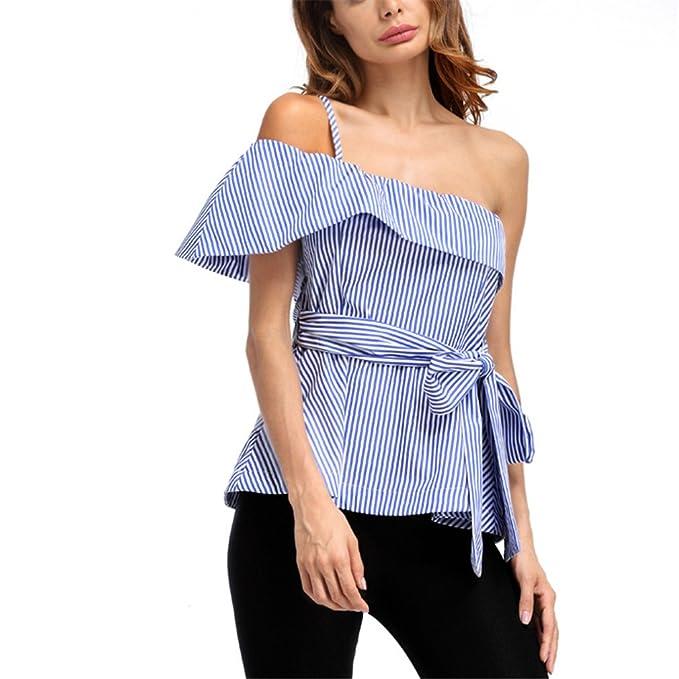 Moda Off Shoulder Camisa a Rayas Mujeres Blusas Summer Elegant Bow Tie sin Mangas Cami Top Sexy Blusa: Amazon.es: Ropa y accesorios