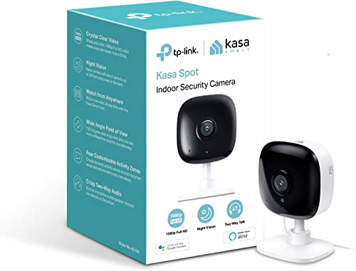 TP-Link Kasa Spot Indoor Camera, 1080P HD Smart wifi Security Camera with Night Vision, Motion Detection, Remote Monitor, Works with Google Assistant and Alexa KC100