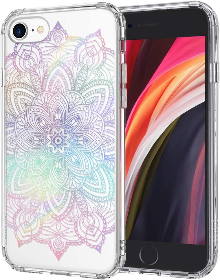 MOSNOVO Gradient Rainbow Henna Mandala Pattern Designed for iPhone SE 2020 Case/Designed for iPhone 8 Case/Designed for iPhone 7 Case - Clear