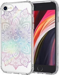 MOSNOVO Gradient Rainbow Henna Mandala Pattern Designed for iPhone SE 2020 Case/Designed for iPhone 8 Case/Designed for iPhone 7 Case - Clear