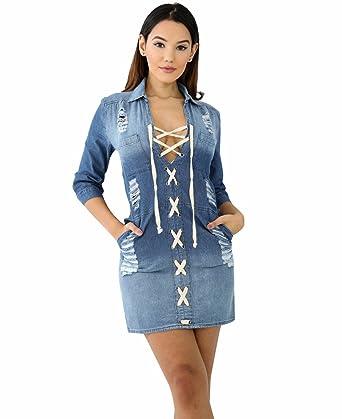 5978da29d37 TieNew Neuf Mode Femme Sexy Denim Robe Chemise Jeans Jumpsuit