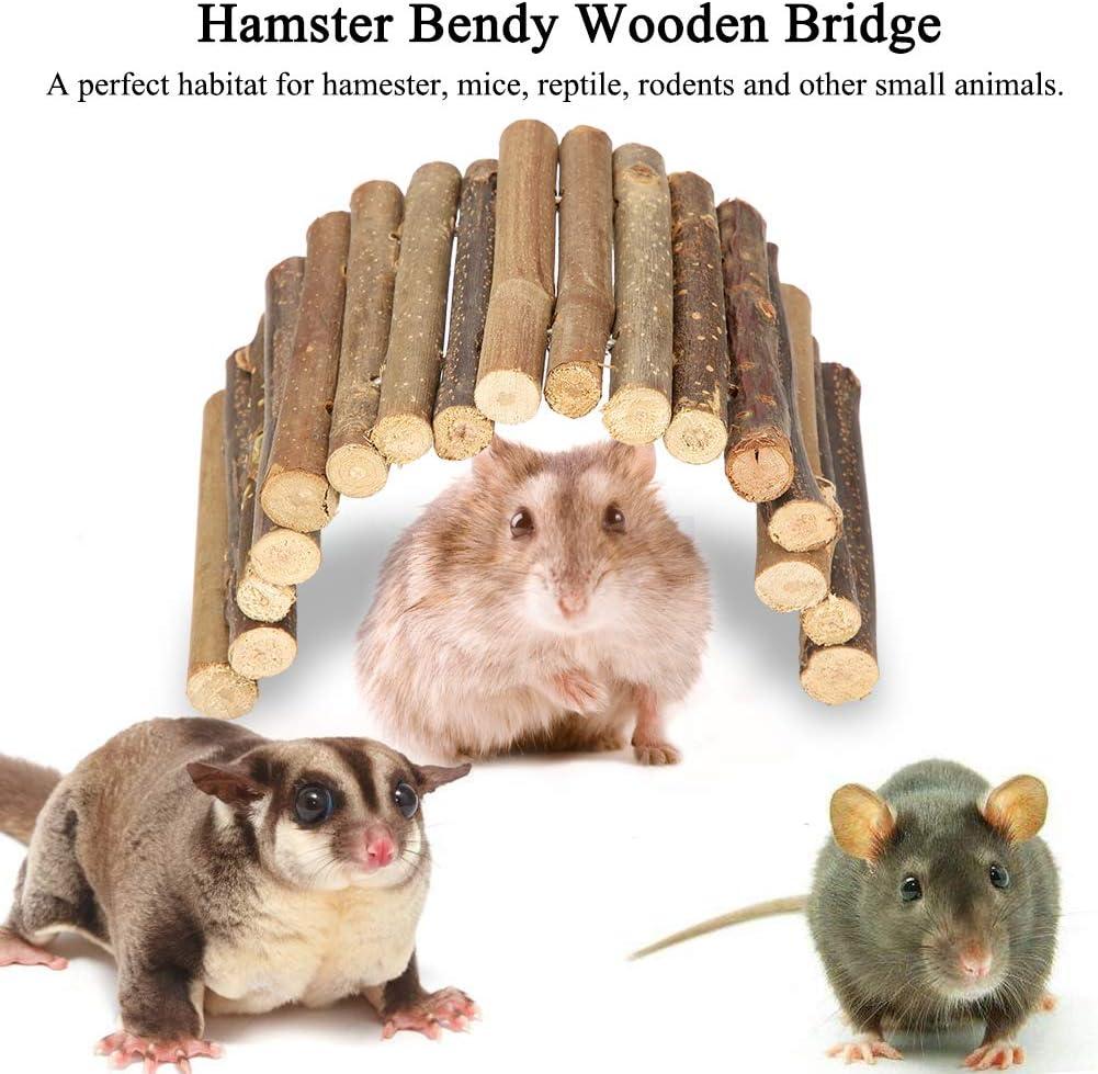 Puente de hámster Puente de Escalera de Madera Escondite de Animales pequeños Roedores Juguete masticable Jaula para Mascotas Decoración para Conejillo de Indias (S): Amazon.es: Productos para mascotas