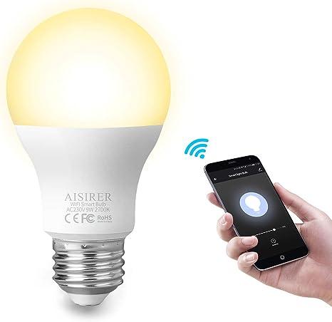 100% de qualité recherche d'authentique le meilleur AISIRER Ampoule Connectee Ampoule LED WiFi Intelligente E27 9W 806LM  Compatible avec Amazon Alexa Echo, Google Home Assistant Dimmable Lumière  chaude ...