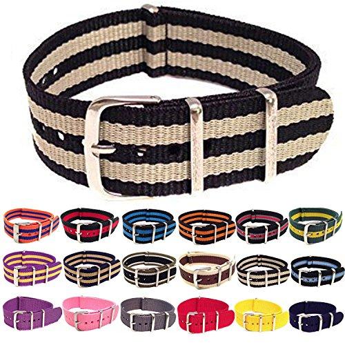 Wrist & Style NylonNATO Watch Strap (20mm, Black/Beige/Black) (Beige Strap Watch)