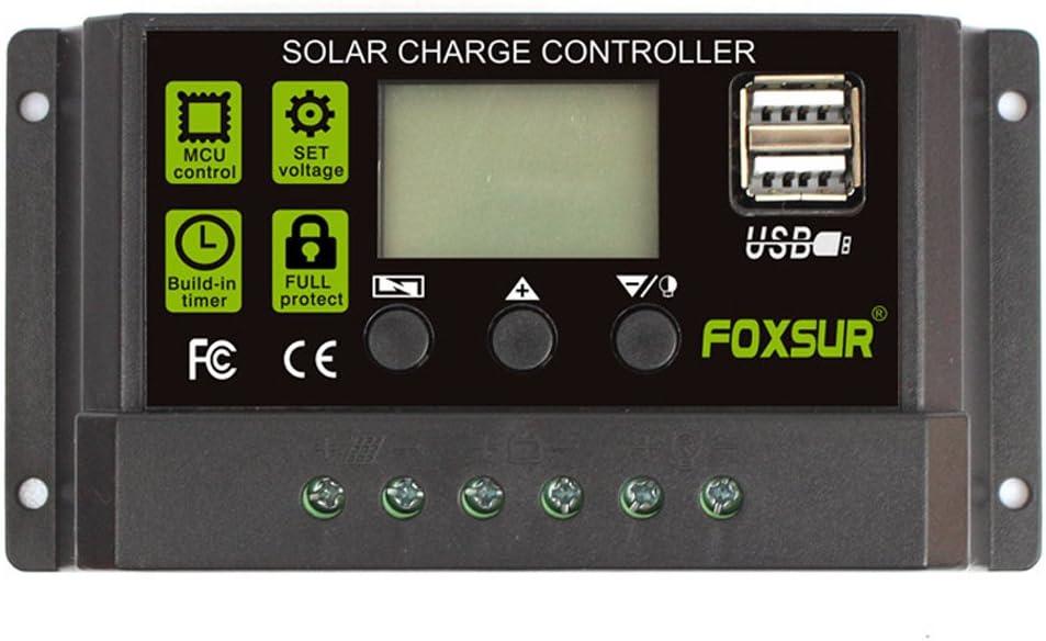 FOXSUR Controlador de carga solar actualizado 30A PWM Regulador de cargador solar 12V 24V Pantalla LCD automática con ajuste de temporizador de carga de salida dual USB 5V (12V 24V 30A)