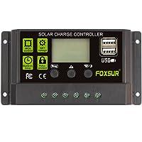FOXSUR Controlador de carga solar actualizado 10A PWM Regulador de cargador solar 12V 24V Pantalla LCD automática con ajuste de temporizador de carga de salida dual USB 5V (12V 24V 10A)