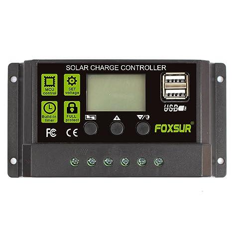 FOXSUR Controlador de carga solar actualizado 30A PWM Regulador de cargador solar 12V 24V Pantalla LCD automática con ajuste de temporizador de carga ...