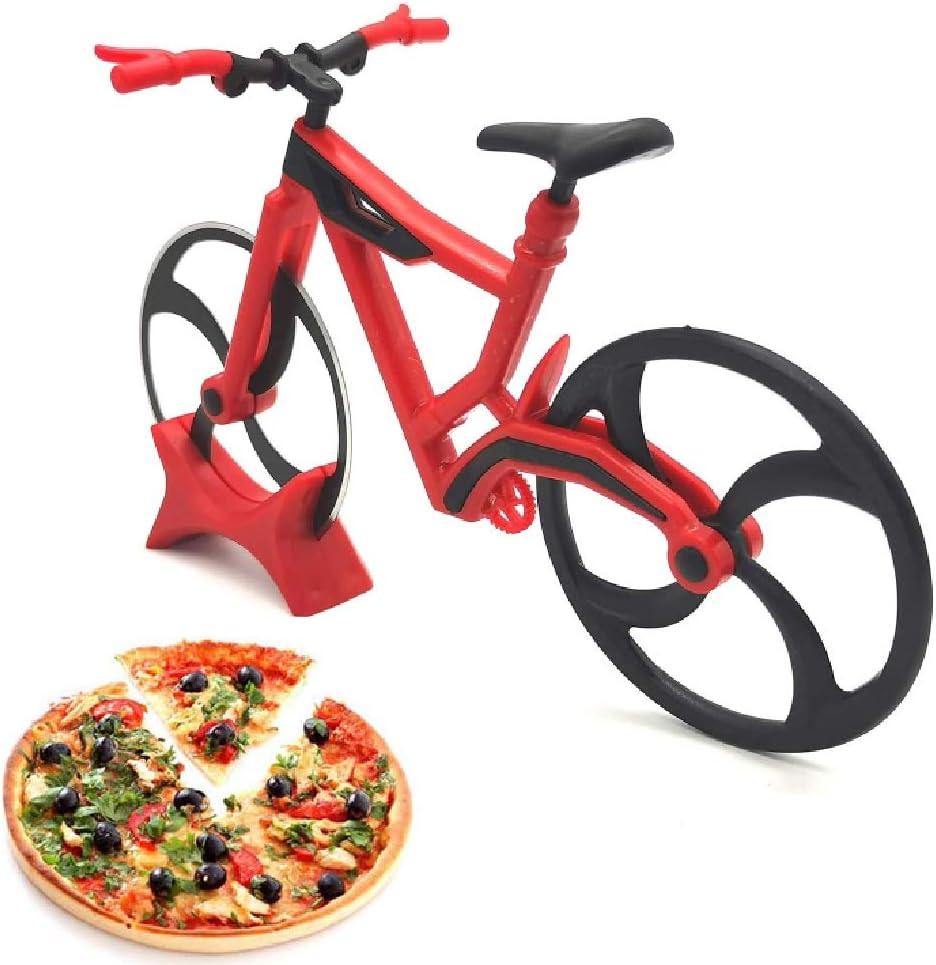 Lady of Luck Bicicleta Cortador de Pizza, Cuchillo de Rueda de Pizza de Acero Inoxidable Antiadherente Cortapizzas con Soporte para Casa, Cocina