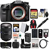 Sony Alpha A99 II Full Frame 4K Wi-Fi Digital SLR Camera Body & 24-70mm f/2.8 Zeiss Lens + 128GB Card + Backpack + Flash + Battery & Charger + Grip Kit