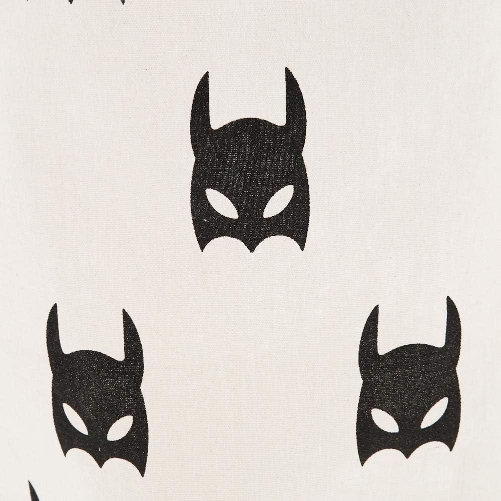 """XHCP 19.7""""Grand Panier à Linge Pliable Cordon de Serrage étanche Toile Ronde Tissu Vêtements Jouets Panier de Rangement Organisateur Seau avec poignées (Lapins Noirs) Black Bats"""