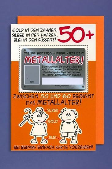 Karte 50 Geburtstag.Grußkarte 50 Geburtstag Karte Humor Applikation Scheckkarte Metallalter C6