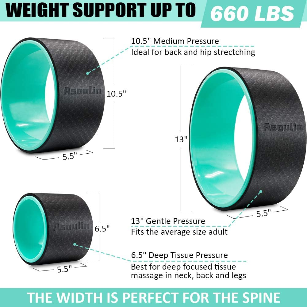 Yoga Wheel Set 3 Pack, Sports Yoga Roller Set Yoga Prop Wheel for Back Pain, Strong Back Wheel with Comfort Thick Cushion for Stretching, Improving Flexibility, Backbends & Yoga Poses-Support 660LBS : Sports & Outdoors