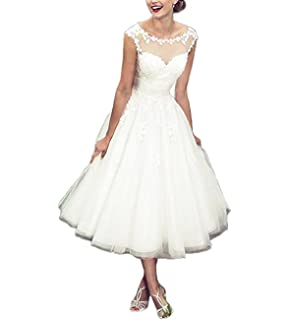 f1081b6d6fa317 XUYUDITA Simple Tea Length Short Scoop Neck Appliques Wedding Dresses Tulle Bridal  Gown